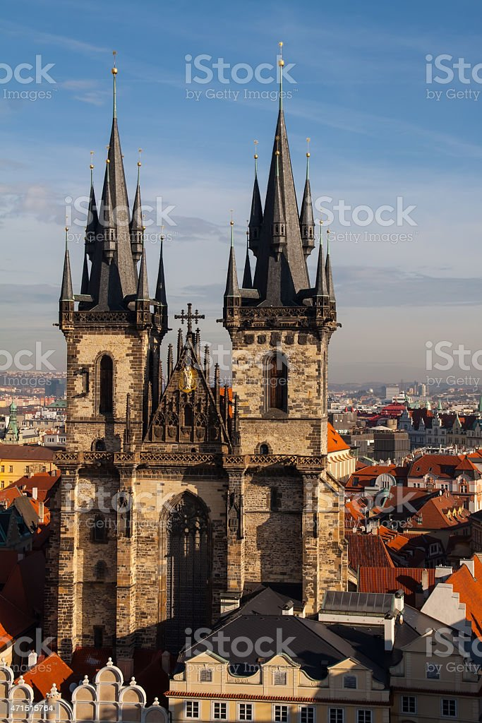 Aeral view of the Tyn Church and  Old Town Square stock photo