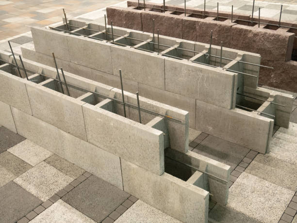 aerated concrete blocks for house building construction, hollow inside for armored cement fill aerated concrete blocks for house building construction, hollow inside for armored cement fill block shape stock pictures, royalty-free photos & images