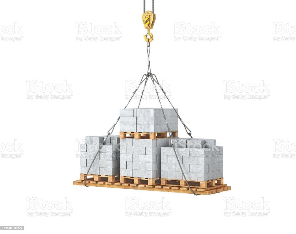 aerated concrete blocks on the crane 3d illustration royalty-free stock photo