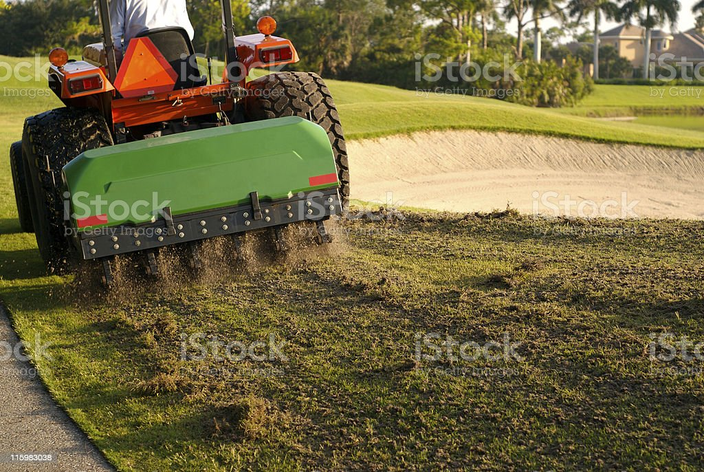 Aeration of Golf Course stock photo