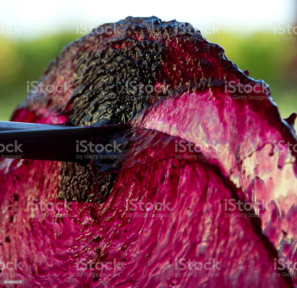 Aeration of the wine during the winemaking stock photo