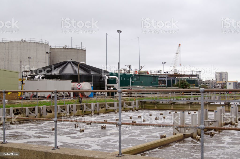 Aeration tank, sewage treatment works stock photo