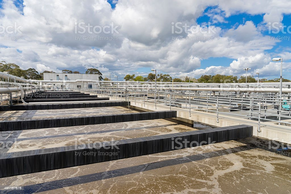 Aeration tank with waste water stock photo