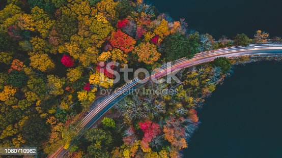 Aerial view in the autumn of the road with cars passing in long exposure, photo made with drone.