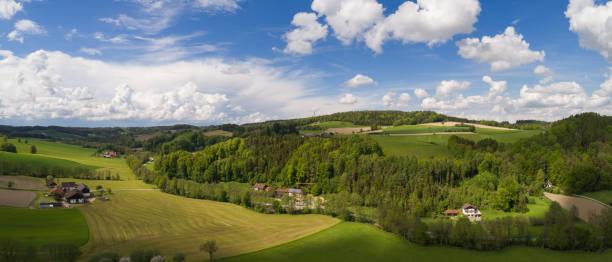 aereal bilden av en bayerska landskapet - bayerischer wald bildbanksfoton och bilder