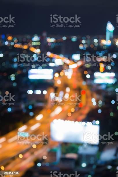 Aeria view blurred bokeh light city road night view