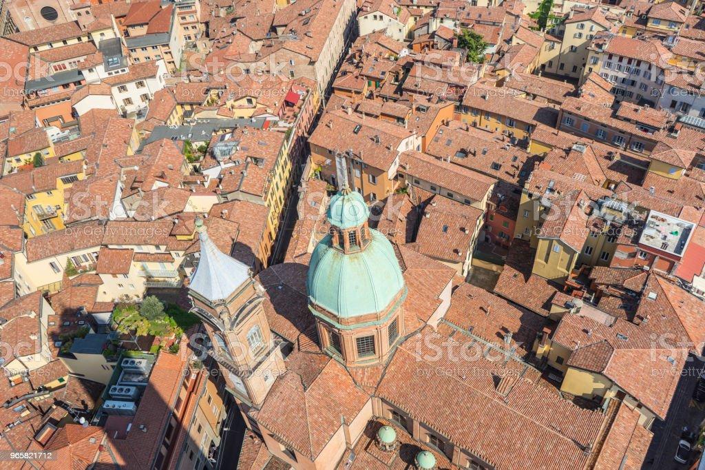 Aeria uitzicht vanaf de Asinelli toren van Bologna daken, Italië - Royalty-free Archiefbeelden Stockfoto