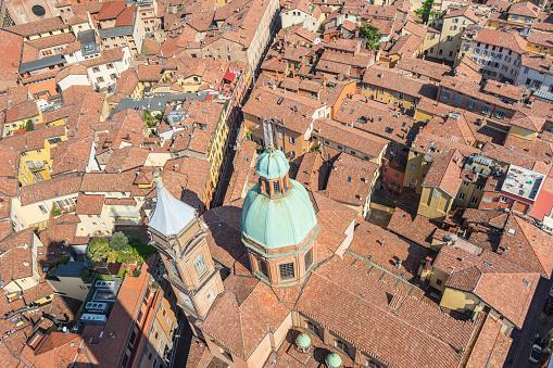 Aeria Uitzicht Vanaf De Asinelli Toren Van Bologna Daken Italië Stockfoto en meer beelden van Archiefbeelden
