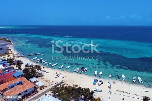 Aerial view of Los Roques island and beach in Caribe