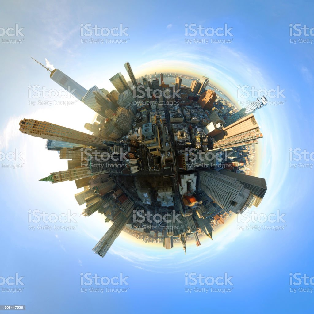 Aerial 360 Degree Panoramic of Manhattan stock photo