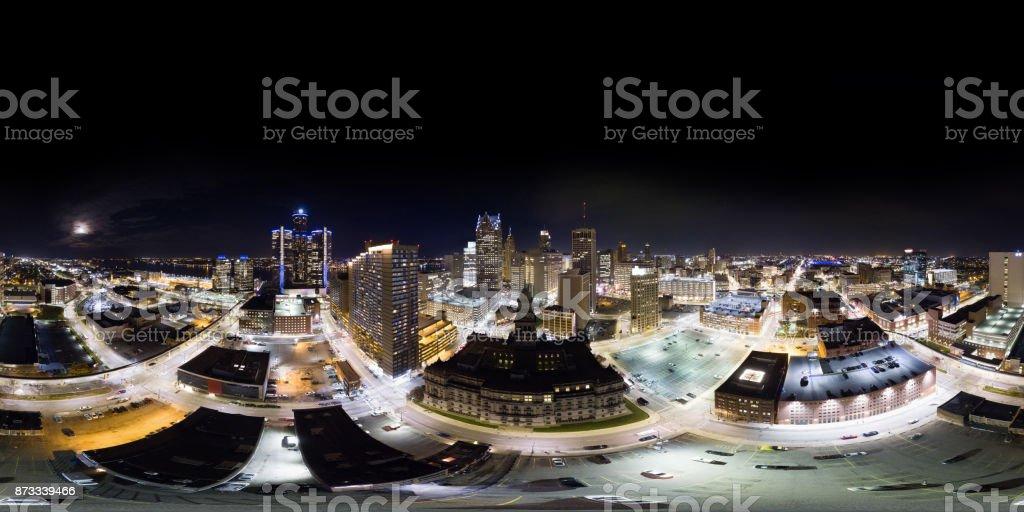 Panorama aéreo 360° de Detroit Downtown - foto de stock