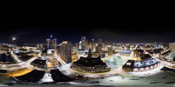 Aerial 360° Panorama of Downtown Detroit stock photo
