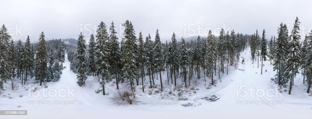 Aerial 360-degree view panorama, foggy winter mountain stock photo