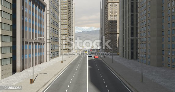 464482634 istock photo Aerial 3D City Flight Render Over The Road 1043503064