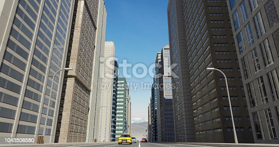 464482634 istock photo Aerial 3D City Flight Render Over The Road 1043506580