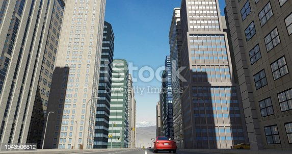 464482634 istock photo Aerial 3D City Flight Render Over The Road 1043506612