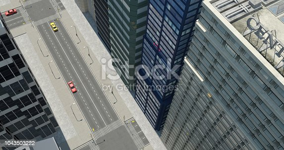 464482634 istock photo Aerial 3D City Render 1043503222