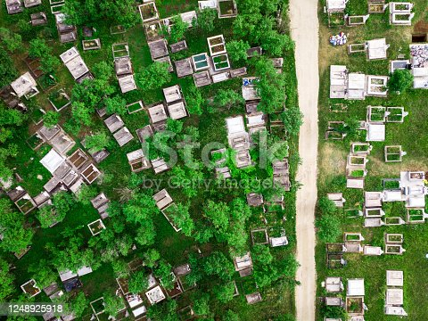 Drone shot depicting a high angle abstract view of a large number of tombstones in a cemetary, surrounded by lush green grass.