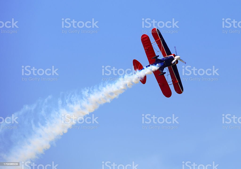 Aerial acrobatics stunt flying stock photo