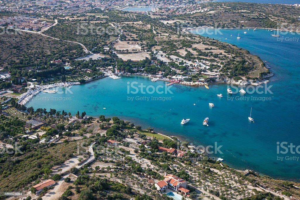 aerial aegean bay coast with boats stock photo