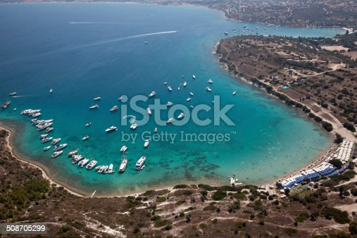 istock aerial aegean coastline bay with beach and boats 508705299