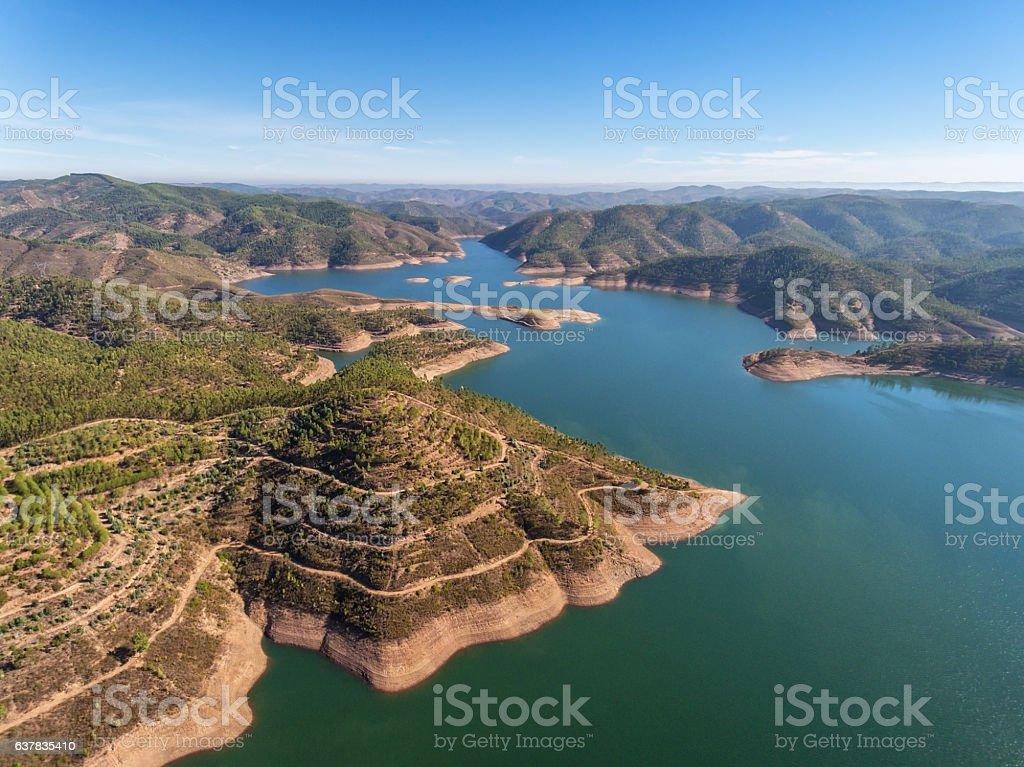 Aerial. Aero panorama dam in Monchique Odelouca. – Foto