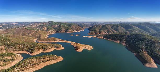 aerial. aerophotographingpanorama dam in monchique odelouca. - fotos de barragem portugal imagens e fotografias de stock