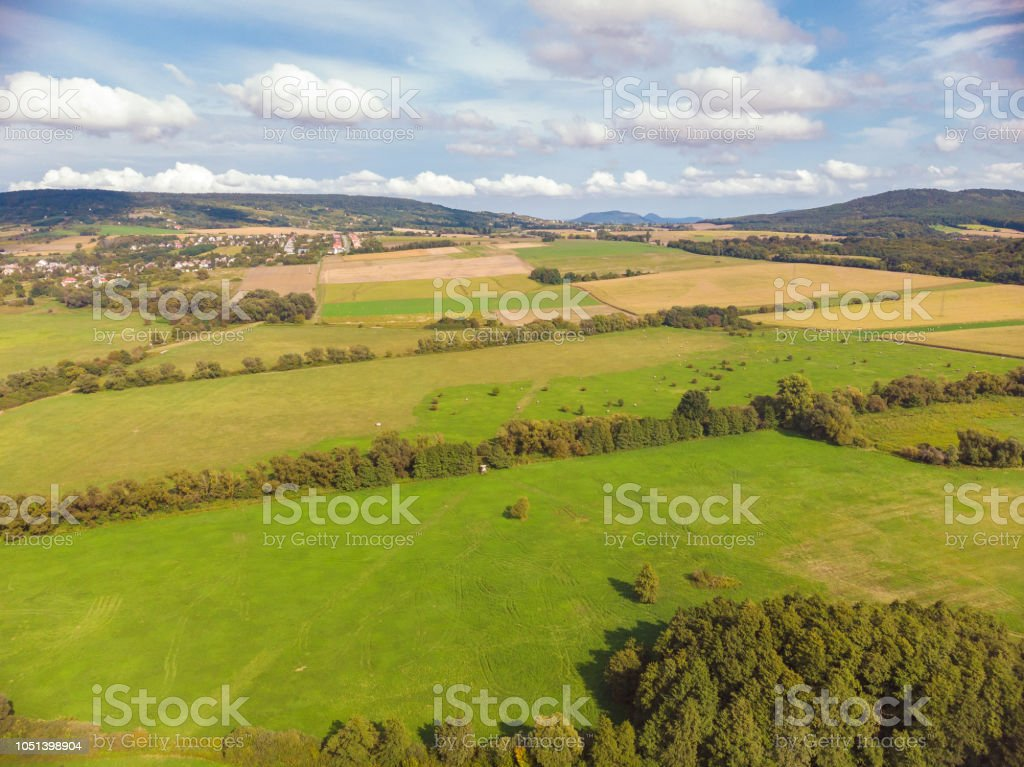 Aerial agricultural picture from a Hungarian landscape , near the lake Balaton – zdjęcie