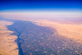 Aerial airplane view of Nile river valley and the surrounding Sahara desert, Egypt