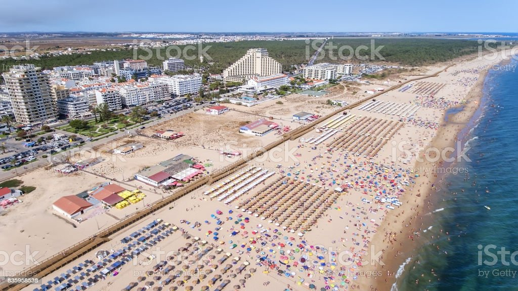Aerial. Amazing beach of Monte Gordo is taken from sky by drones Portugal stock photo