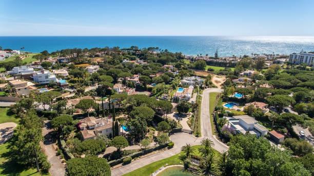 Aerial. Amazing view from the sky of village of Villas de Lobo. Algarve stock photo