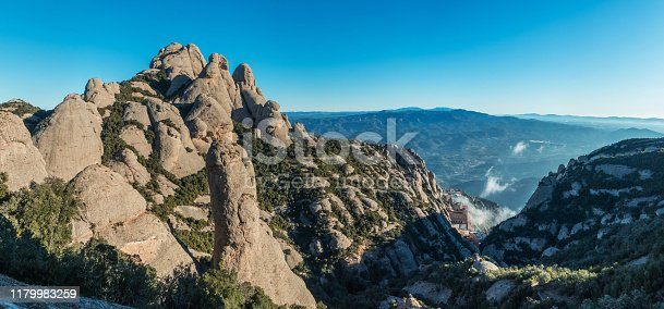Aerial and panoramic view of the Monastery of Montserrat between the rock formations of the Montserrat mountain