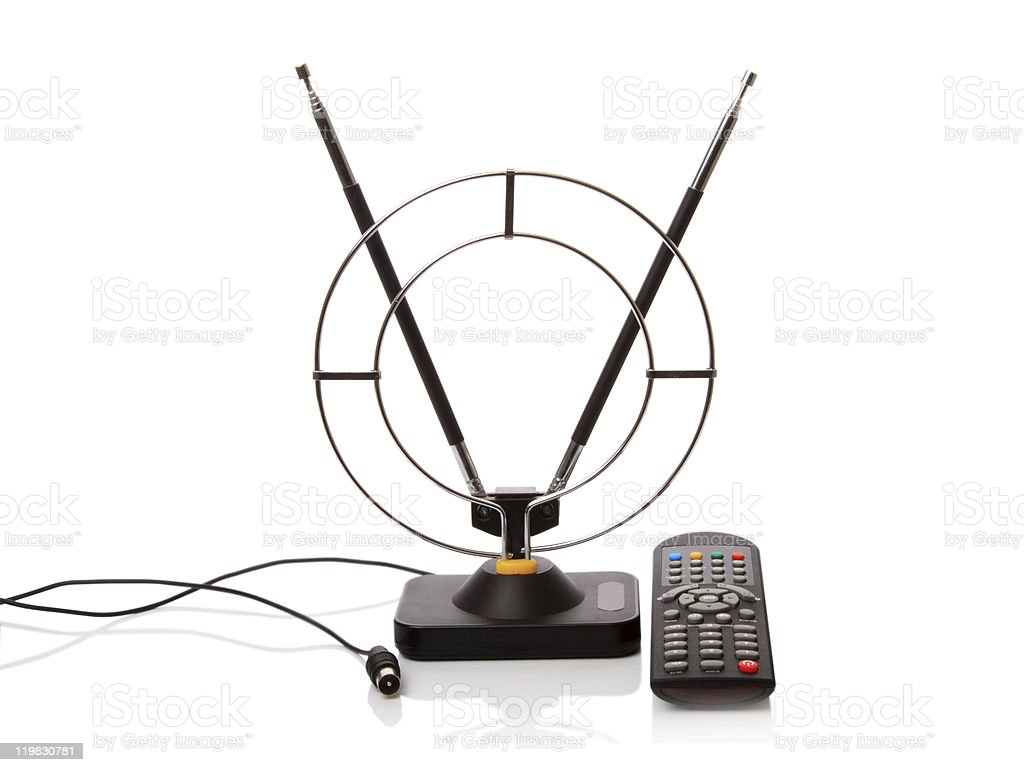 Aerial and remote control TV stock photo