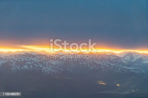 istock Aerial andean mountains landscape at Sunrise - Santiago, Chile 1155486281