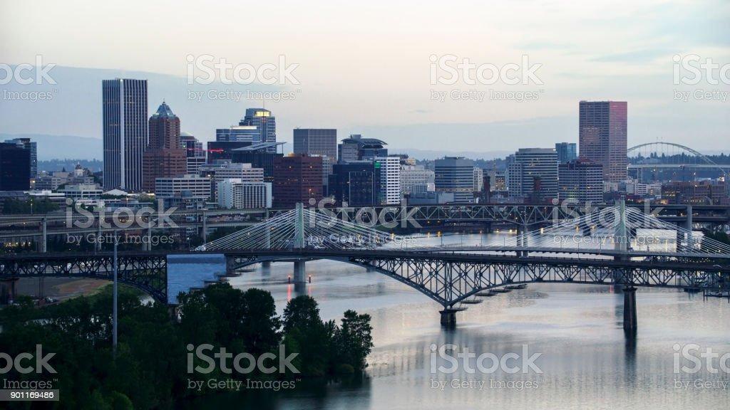 Aerial approaching the Tilikum Crossing on Willamette River in Portland stock photo