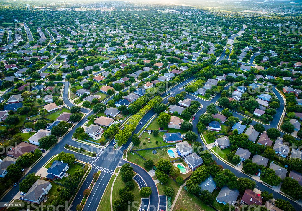 Aerial Austin Surburb Home Development Vast neighborhoods stock photo