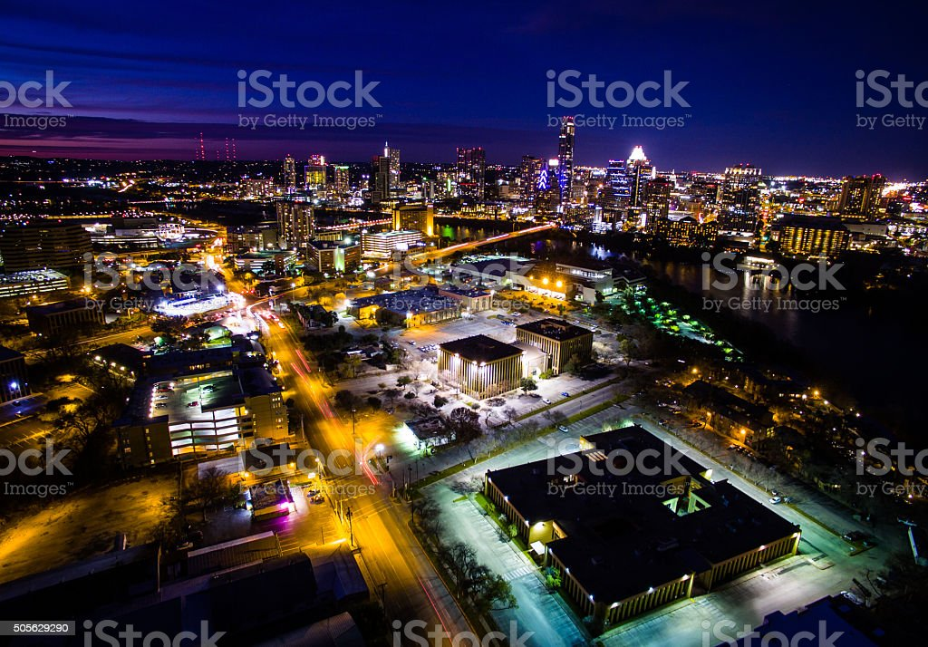 Aerial Austin Texas Capital Cities Glowing Lights at Night stock photo