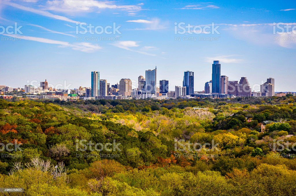Aerial Austin Texas Fall Autumn Colors Central Texas stock photo