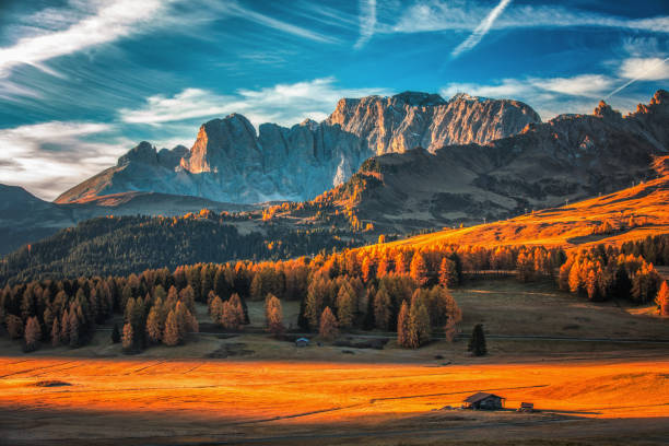 aerial autumn sunrise scenery with yellow larches and small alpine building and odle - geisler mountain group on background. alpe di siusi (seiser alm), dolomite alps, italy - dolomiti foto e immagini stock