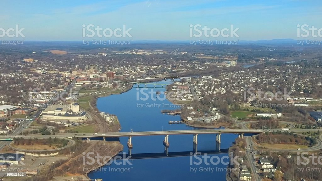 Aerial Bangor, Maine, Penobscot River, Bridges on Clear Day stock photo