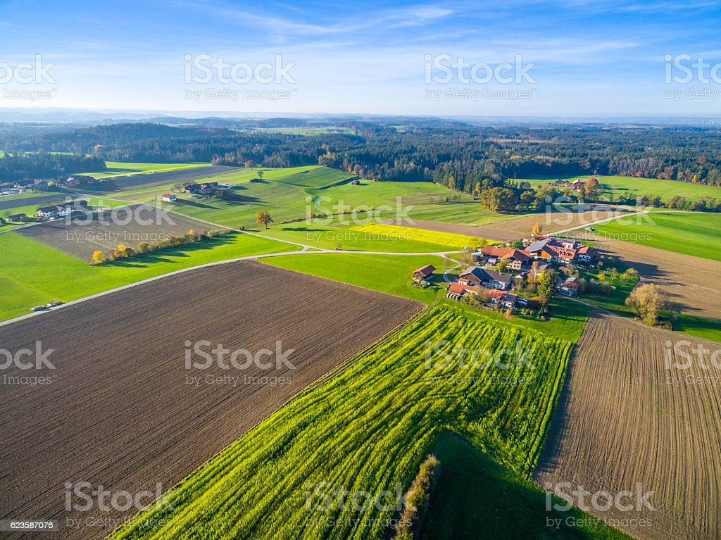 Aerial: Bavarian Landscape in fall – Foto
