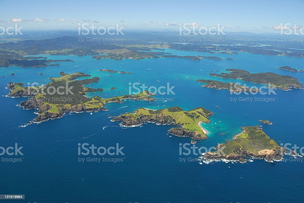 Aerial - Bay of Islands, Northland, New Zealand stock photo