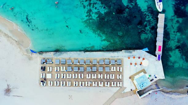 aerial beach view of a luxury beach resort in Magaluf, Mallorca stock photo