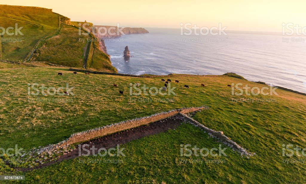 Aerial birds eye view from the world famous cliffs of moher in county clare ireland. stock photo