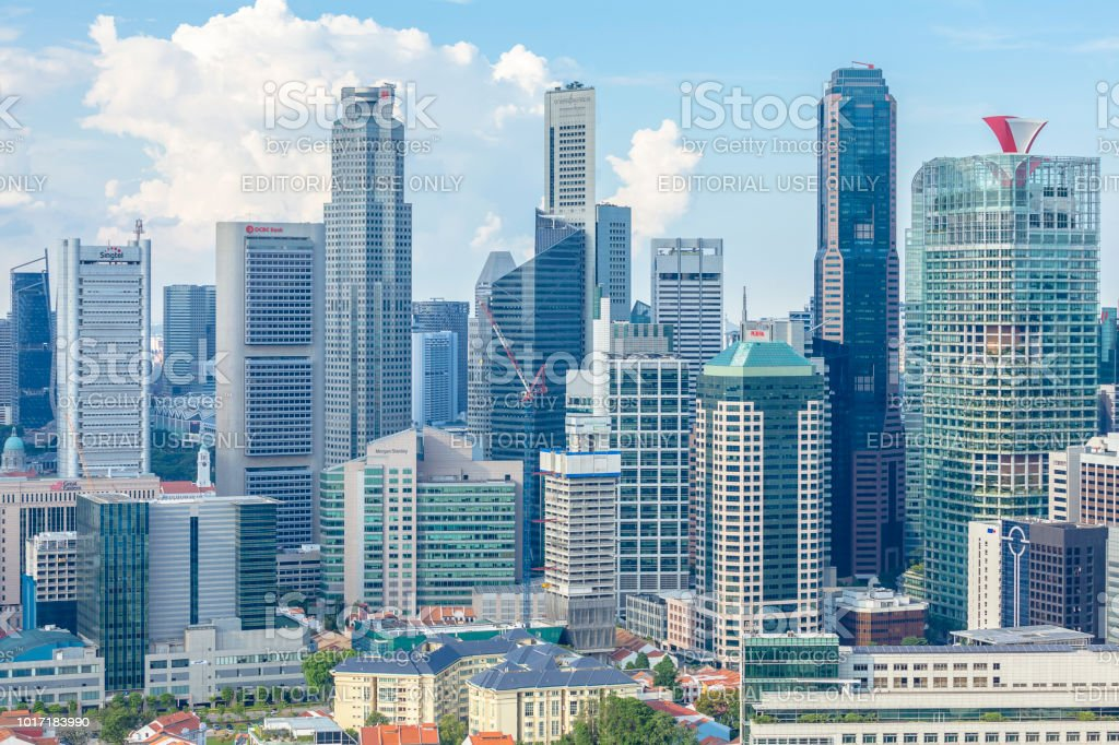 Aerial bird's eye view of central business district of Singapore