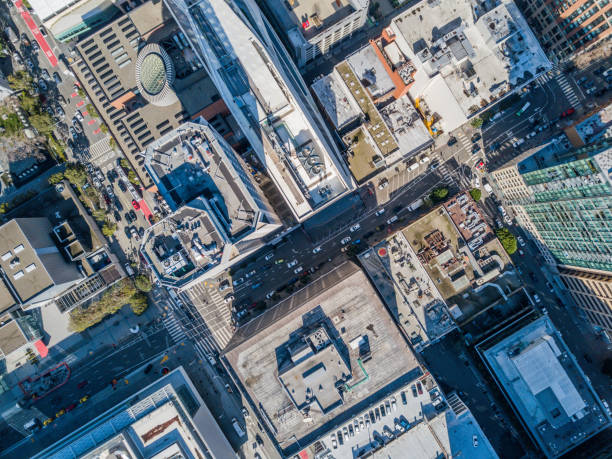 Aerial Birds Eye View of San Francisco  Fiancial Disrict An aerial birds eye  view of San Francisco looking straight down at the skyscrapers and streets in the financial district. drone point of view stock pictures, royalty-free photos & images