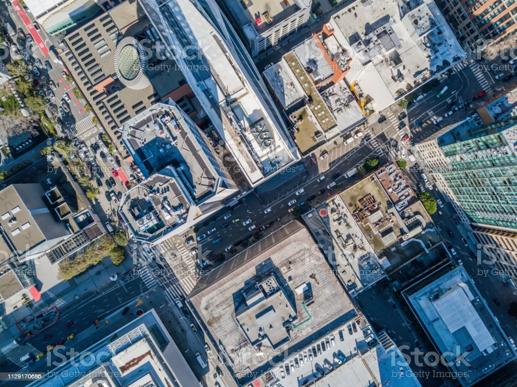 Aerial Birds Eye View of San Francisco  Fiancial Disrict stock photo