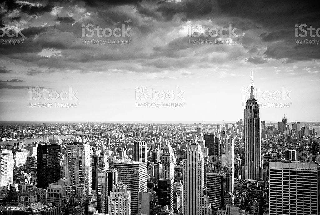 Aerial black and white view of New York City royalty-free stock photo