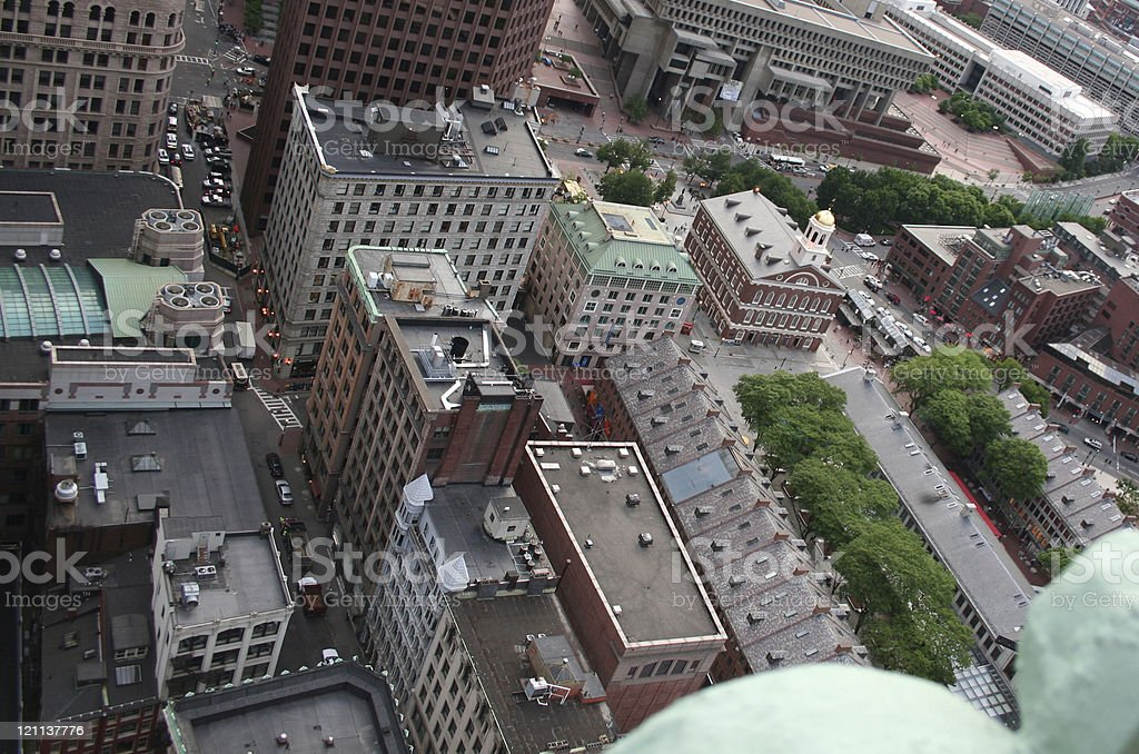 Aerial Boston City Faneuil Hall Quincy Market Government Center stock photo