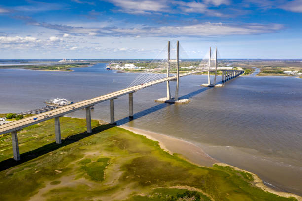 Aerial Cable-stayed bridge Sidney Lanier Bridge stock photo